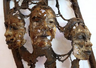 TRACES OF US Iron resin/jute/salvaged metal Bev Knowlden Sculpture