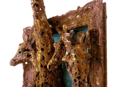 LOOK OUT! - Iron resin/jute/wooden frame  FOR SALE £1400   Contact Bev Knowlden
