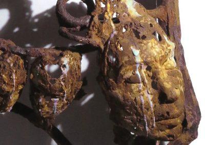 TRACES OF US 2 Iron resin/jute/reclaimed metal Bev Knowlden Sculpture