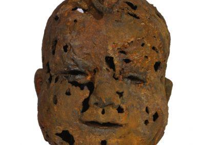 Cheeky Chester, iron resin, jute, reclaimed metal, Bev Knowlden Sculpture